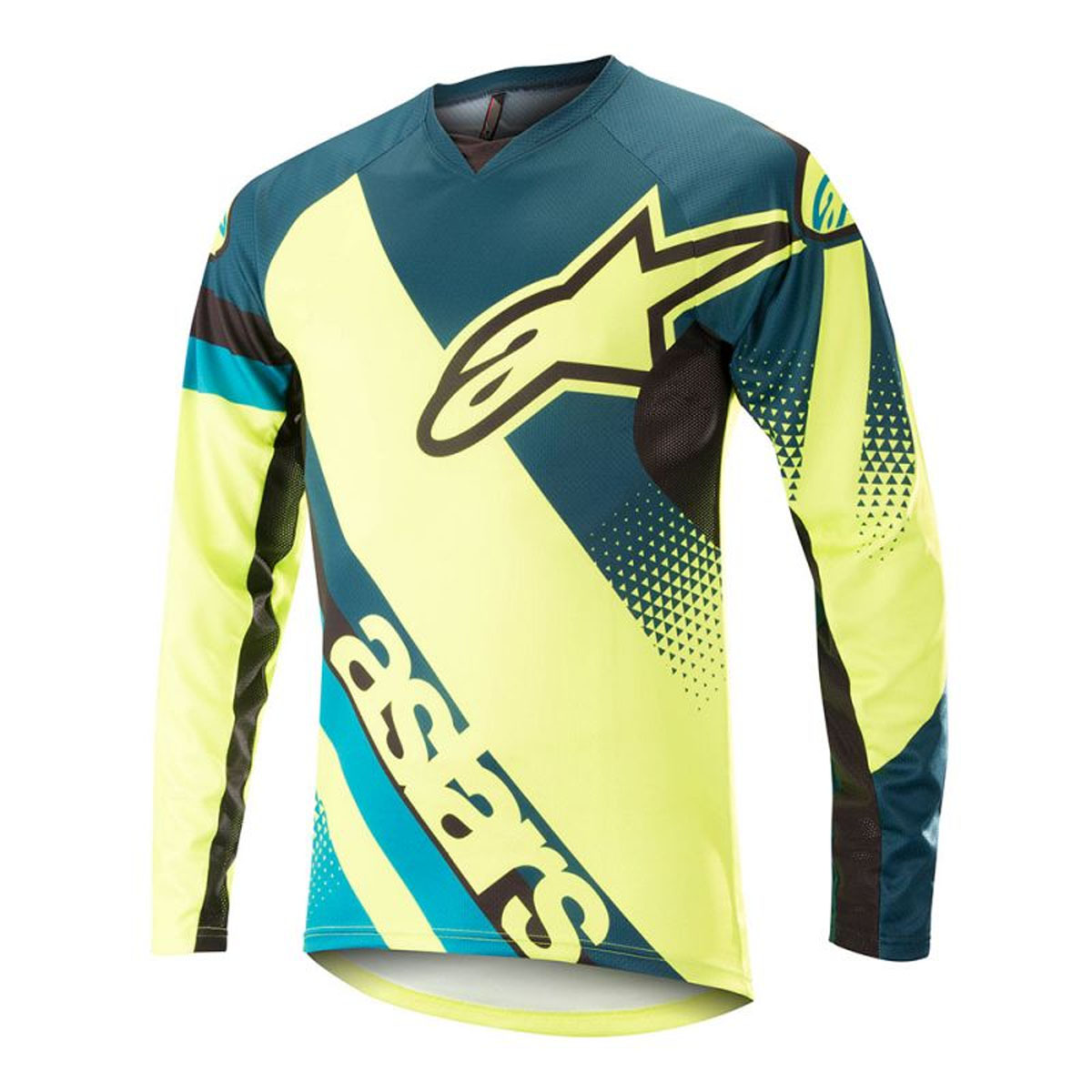 Alpinestars Men s Racer Long Sleeve Cycling Jersey - Petrol Yellow  Fluorescent 7cce78725